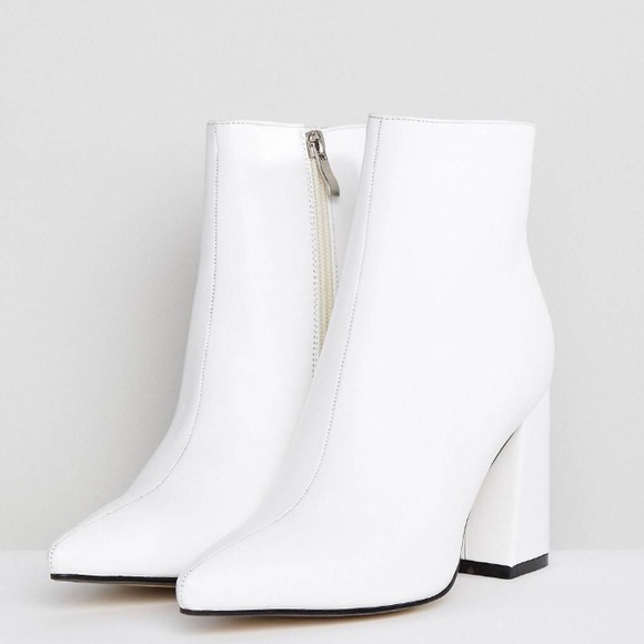 Asos Shoes Public Desire Empire White Block Heeled Ankle Boot